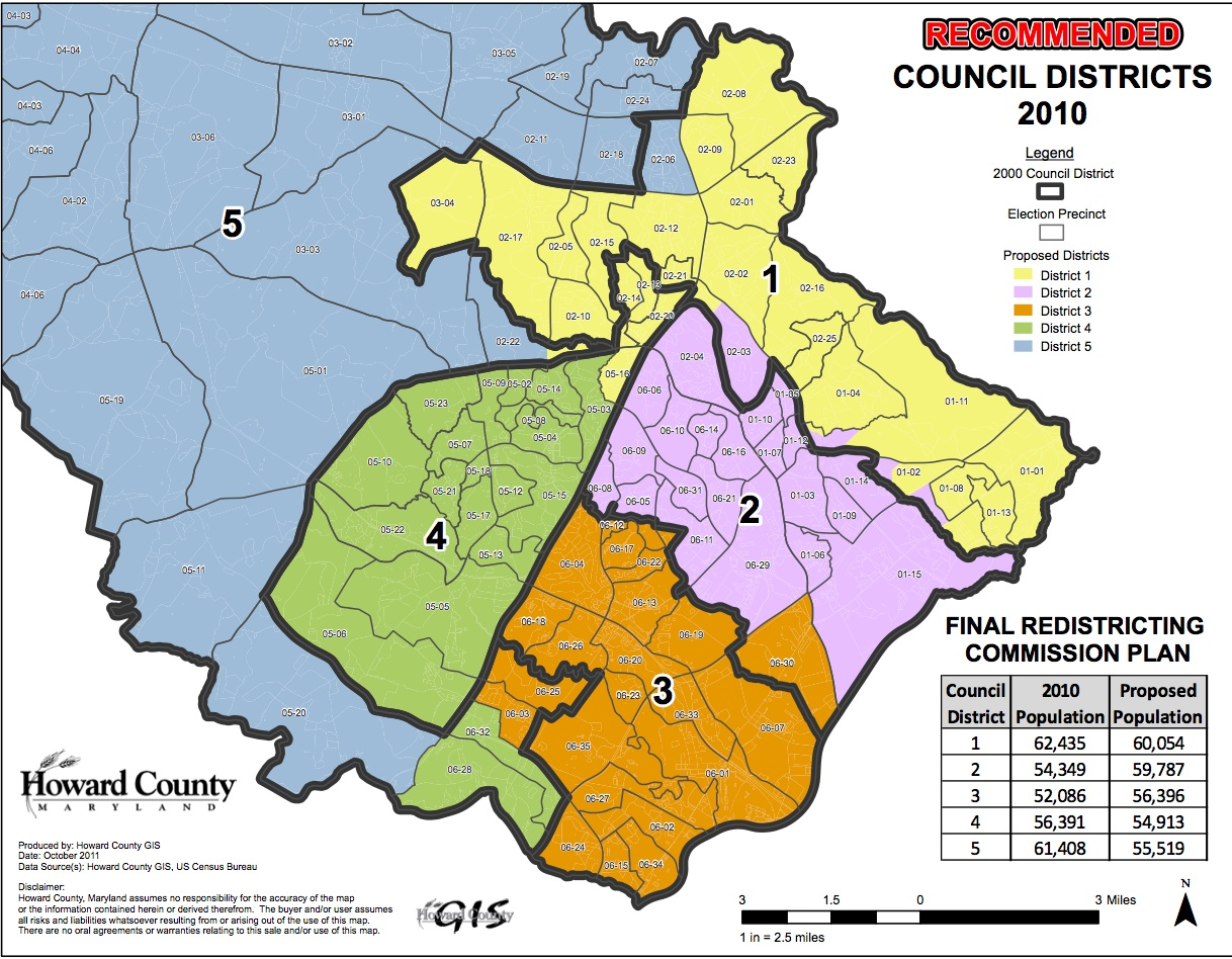 Howard County Md Zip Code Map.County Council District Maps Seventh State